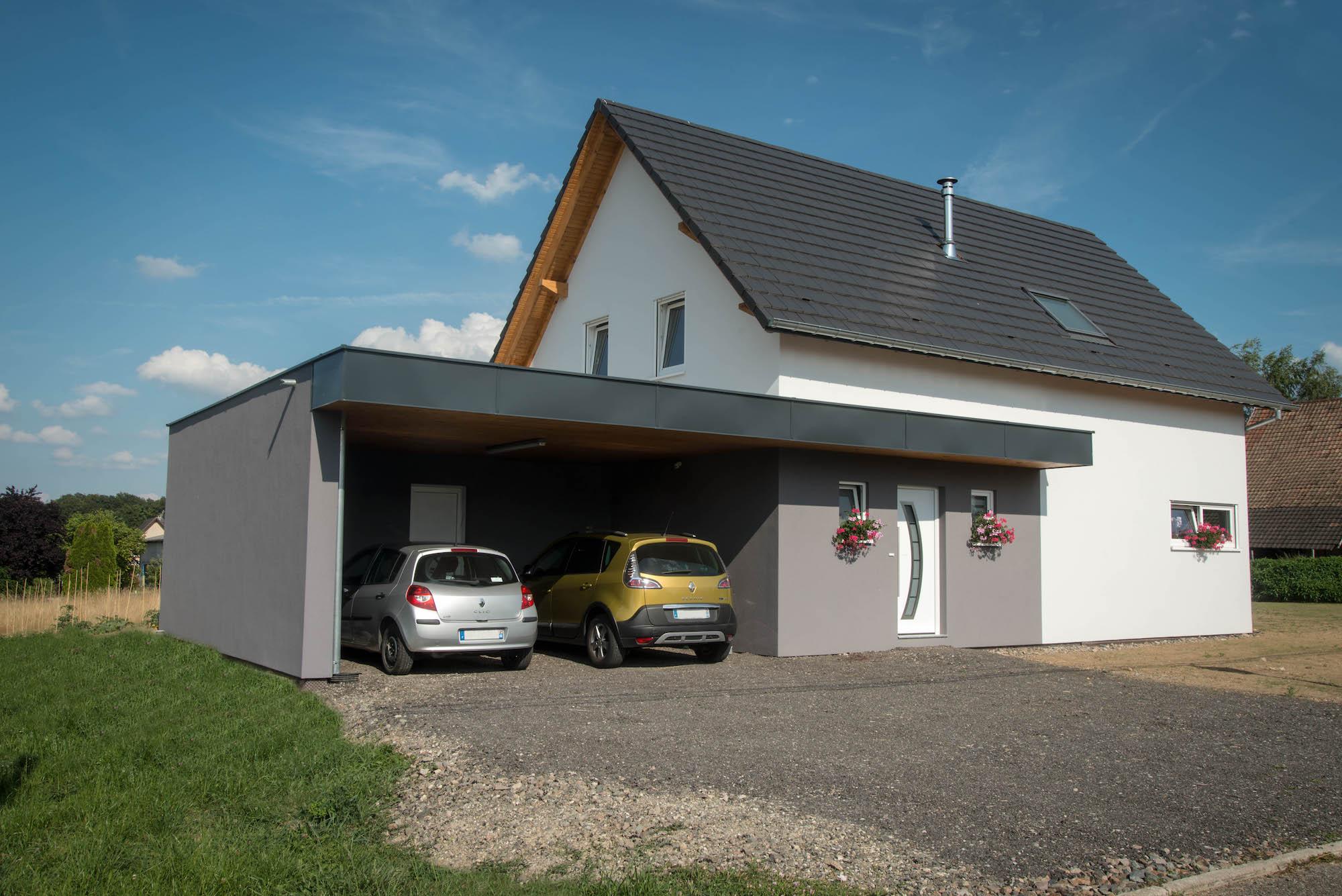 Maison 2 pans et garage à toit plat - Romagny - Maisons ABT